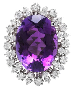 15.30 Carats Natural Amethyst and Diamond 14K Solid White Gold Ring