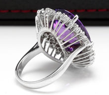 Load image into Gallery viewer, 15.30 Carats Natural Amethyst and Diamond 14K Solid White Gold Ring