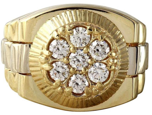 1.25 Carats Natural Diamond 14K Solid Yellow Gold Men's Ring