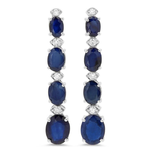 Exquisite 10.40 Carats Natural Sapphire and Diamond 14K Solid White Gold Earrings