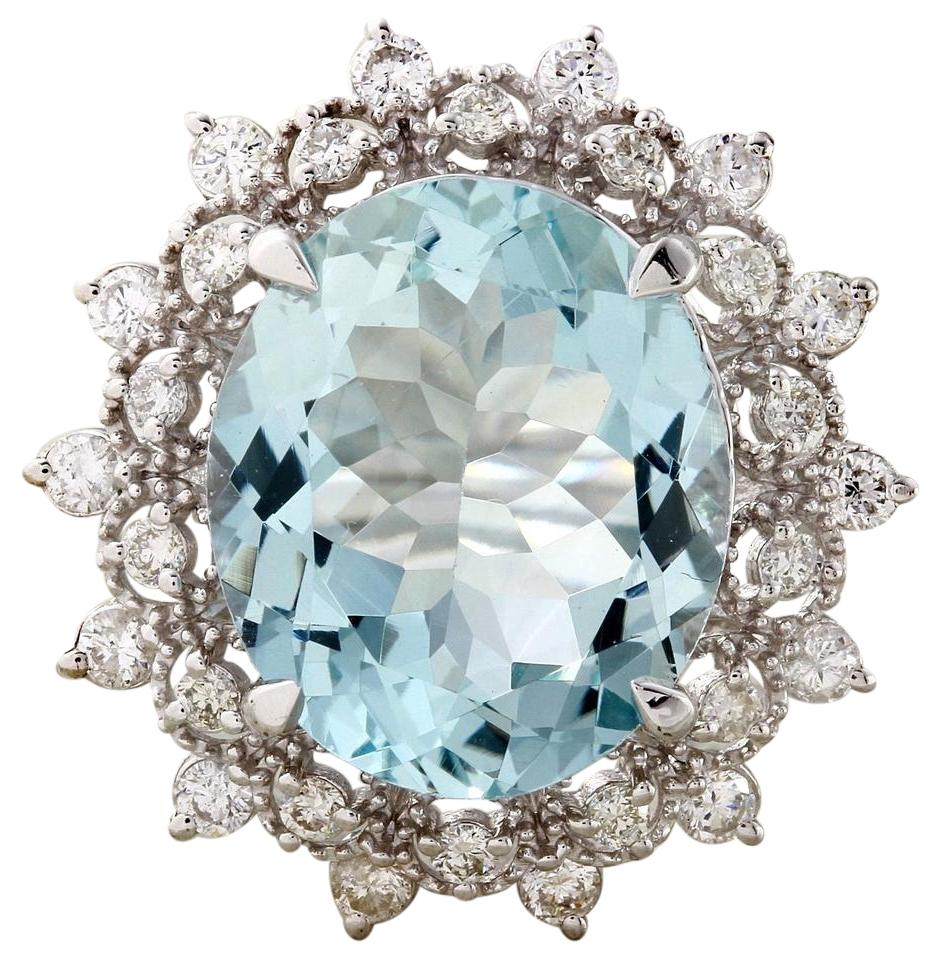 7.50 Carats Natural Aquamarine and Diamond 14K Solid White Gold Ring