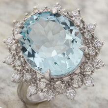 Load image into Gallery viewer, 7.50 Carats Natural Aquamarine and Diamond 14K Solid White Gold Ring
