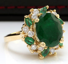 Load image into Gallery viewer, 7.04 Carats Natural Emerald and Diamond 14K Solid Yellow Gold Ring