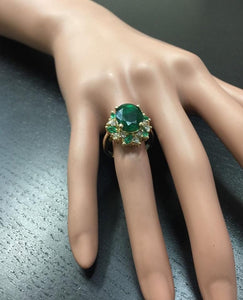 7.04 Carats Natural Emerald and Diamond 14K Solid Yellow Gold Ring