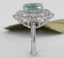 Load image into Gallery viewer, 3.80 Carats Natural Aquamarine and Diamond 14K Solid White Gold Ring
