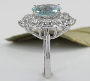 3.80 Carats Natural Aquamarine and Diamond 14K Solid White Gold Ring