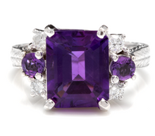Load image into Gallery viewer, 4.70 Carats Natural Amethyst and Diamond 14K Solid White Gold Ring