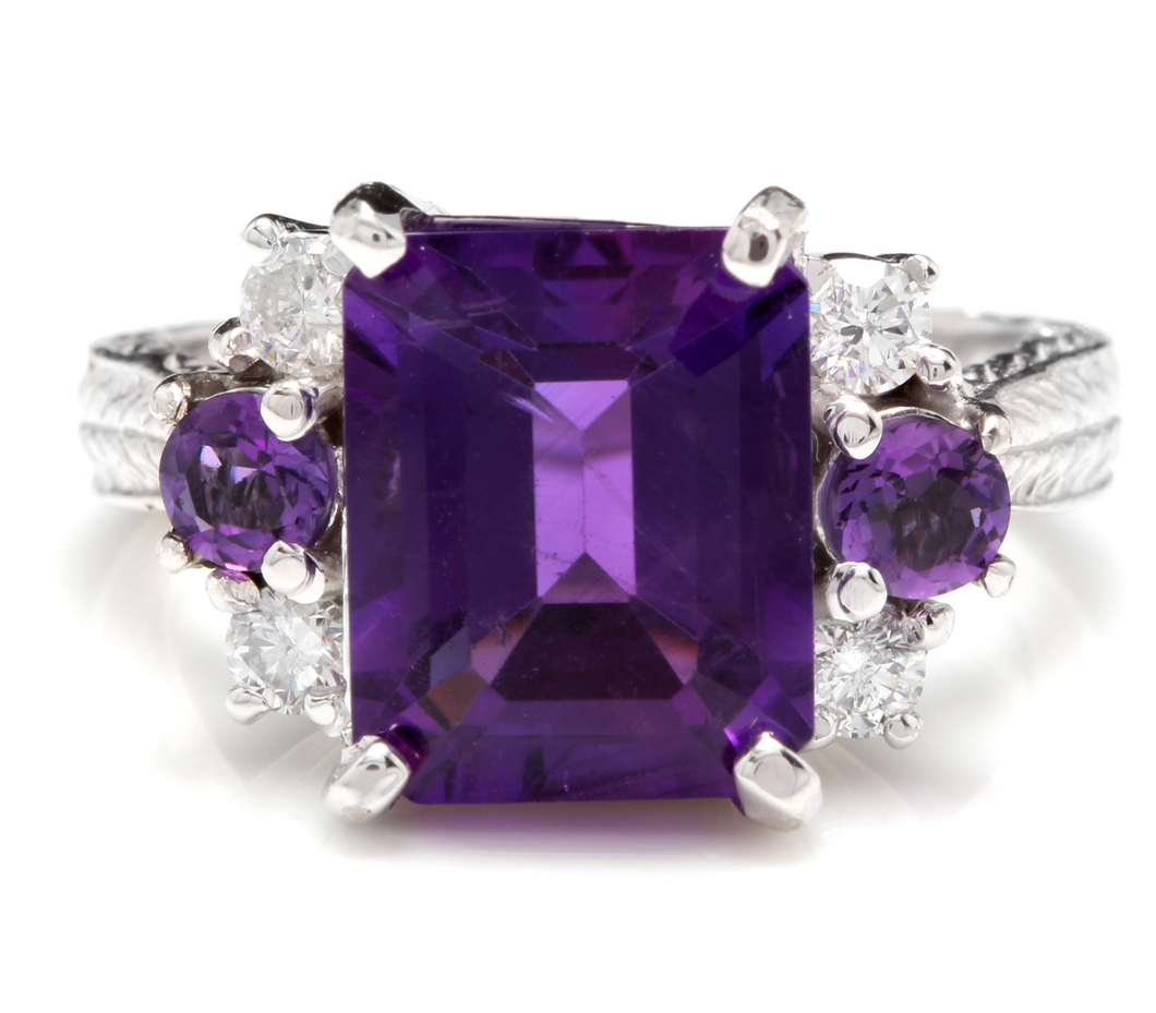 4.70 Carats Natural Amethyst and Diamond 14K Solid White Gold Ring