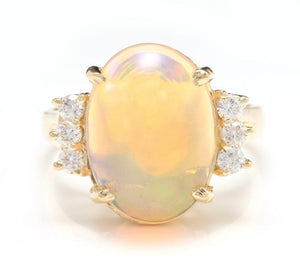 6.10 Carats Natural Impressive Ethiopian Opal and Diamond 14K Solid Yellow Gold Ring