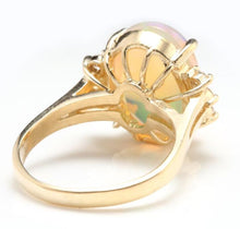 Load image into Gallery viewer, 6.10 Carats Natural Impressive Ethiopian Opal and Diamond 14K Solid Yellow Gold Ring
