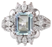 Load image into Gallery viewer, 3.50 Carats Natural Aquamarine and Diamond 14K Solid White Gold Ring