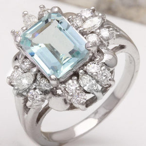 3.50 Carats Natural Aquamarine and Diamond 14K Solid White Gold Ring
