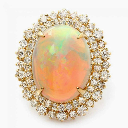 12.50 Carats Natural Impressive Ethiopian Opal and Diamond 14K Solid Yellow Gold Ring