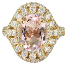 Load image into Gallery viewer, 5.00 Carats Exquisite Natural Morganite and Diamond 14K Solid Yellow Gold Ring