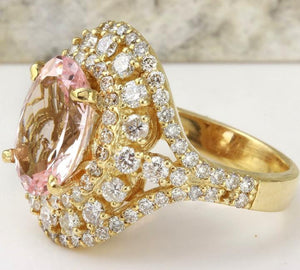 5.00 Carats Exquisite Natural Morganite and Diamond 14K Solid Yellow Gold Ring