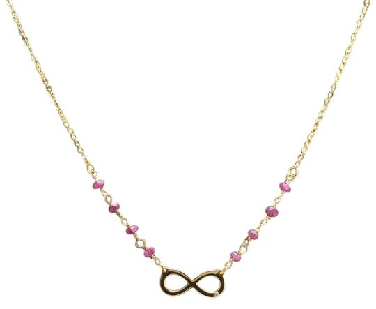 Splendid 14k Solid Yellow Gold Infinity Necklace with Natural Diamond Accent and Rough Rubies
