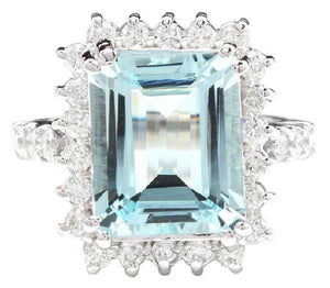 7.85 Carats Natural Aquamarine and Diamond 14K Solid White Gold Ring