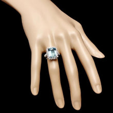 Load image into Gallery viewer, 7.85 Carats Natural Aquamarine and Diamond 14K Solid White Gold Ring