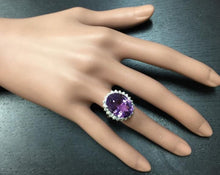 Load image into Gallery viewer, 15.00 Carats Natural Amethyst and Diamond 14K Solid White Gold Ring