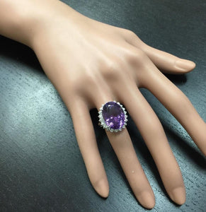15.00 Carats Natural Amethyst and Diamond 14K Solid White Gold Ring
