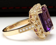 Load image into Gallery viewer, 8.65 Carats Natural Amethyst and Diamond 14K Solid Yellow Gold Ring