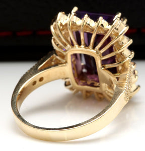 8.65 Carats Natural Amethyst and Diamond 14K Solid Yellow Gold Ring