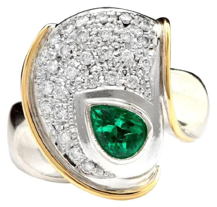 1.50 Carats Natural Emerald and Diamond Platinum Two Tone Ring
