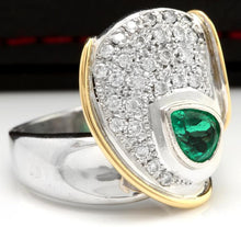 Load image into Gallery viewer, 1.50 Carats Natural Emerald and Diamond Platinum Two Tone Ring