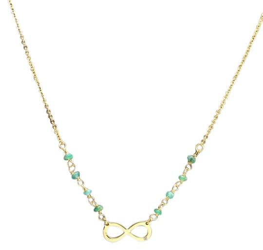 Splendid 14k Solid Yellow Gold Infinity Necklace with Natural Diamond Accent and Rough Emeralds