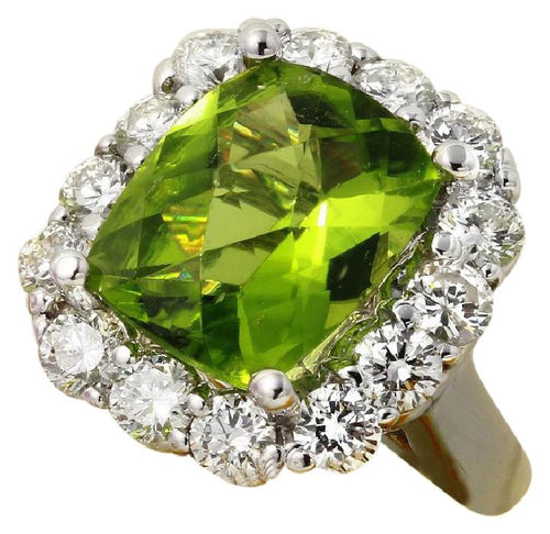 4.20 Carats Natural Very Nice Looking Peridot and Diamond 14K Solid White Gold Ring