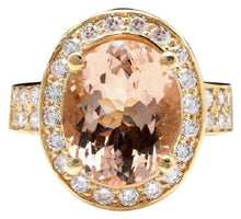 Load image into Gallery viewer, 6.91 Carats Exquisite Natural Morganite and Diamond 14K Solid Yellow Gold Ring