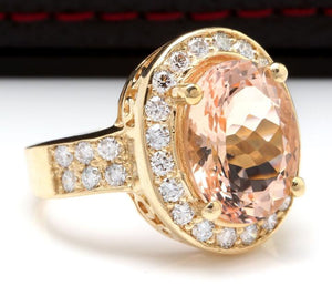 6.91 Carats Exquisite Natural Morganite and Diamond 14K Solid Yellow Gold Ring