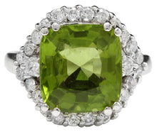 Load image into Gallery viewer, 9.30 Carats Natural Very Nice Looking Peridot and Diamond 14K Solid White Gold Ring
