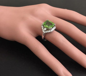 9.30 Carats Natural Very Nice Looking Peridot and Diamond 14K Solid White Gold Ring