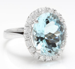 9.35 Carats Natural Aquamarine and Diamond 14K Solid White Gold Ring