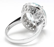 Load image into Gallery viewer, 9.35 Carats Natural Aquamarine and Diamond 14K Solid White Gold Ring