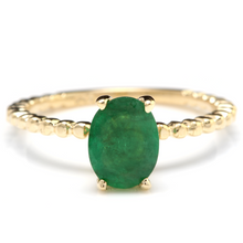 Load image into Gallery viewer, 1.20 Carats Exquisite Natural Emerald 14K Solid Yellow Gold Ring