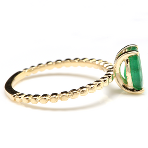 1.20 Carats Exquisite Natural Emerald 14K Solid Yellow Gold Ring