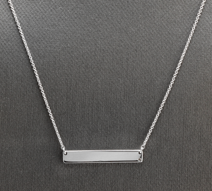 Splendid 14k Solid White Gold Bar Necklace with Diamond Accent