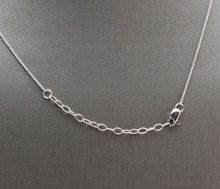 Load image into Gallery viewer, Splendid 14k Solid White Gold Bar Necklace with Diamond Accent