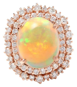 8.50 Carats Natural Impressive Ethiopian Opal and Diamond 14K Solid Rose Gold Ring