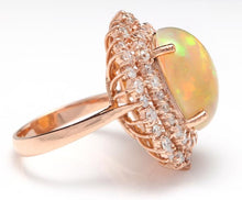 Load image into Gallery viewer, 8.50 Carats Natural Impressive Ethiopian Opal and Diamond 14K Solid Rose Gold Ring