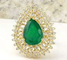 Load image into Gallery viewer, 4.80 Carats Natural Emerald and Diamond 14K Solid Yellow Gold Ring