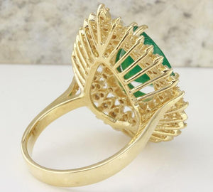 4.80 Carats Natural Emerald and Diamond 14K Solid Yellow Gold Ring