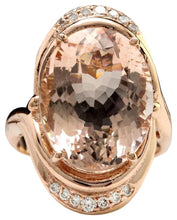 Load image into Gallery viewer, 11.90 Carats Exquisite Natural Morganite and Diamond 14K Solid Rose Gold Ring
