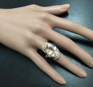 11.90 Carats Exquisite Natural Morganite and Diamond 14K Solid Rose Gold Ring