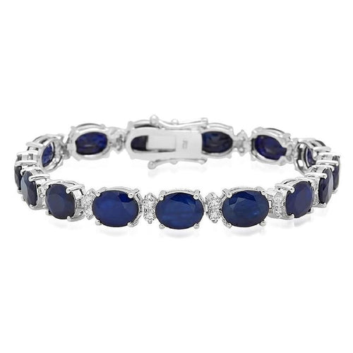 Very Impressive 29.50 Carats Natural Sapphire & Diamond 14K Solid White Gold Bracelet