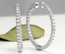 Load image into Gallery viewer, Exquisite 3.00 Carats Natural Diamond 14K Solid White Gold Hoop Earrings