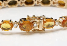 Load image into Gallery viewer, Very Impressive 30.65 Carats Natural Sapphire & Diamond 14K Solid Yellow Gold Bracelet