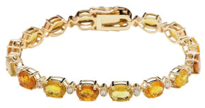 Very Impressive 30.65 Carats Natural Sapphire & Diamond 14K Solid Yellow Gold Bracelet